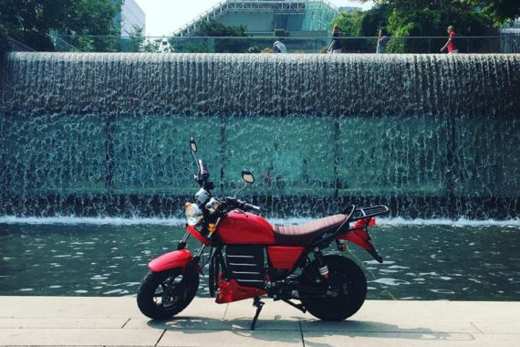 Motorcycle waterfall park
